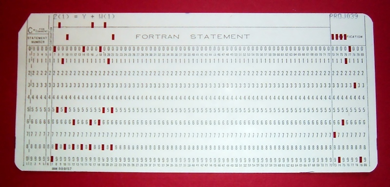 A keypunch card